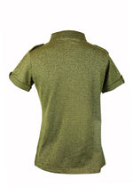Burberry Green Glitter Polo Shirt with Golden Buttons Size 40 (EU)