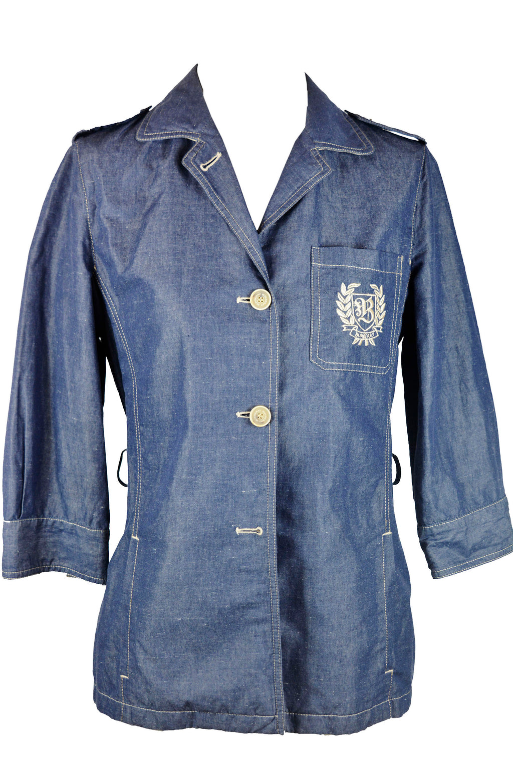 Burberry Denim Blazer with Beige Embroidered Pocket  and Buttons Size 38 (EU)