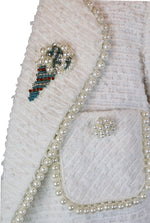 Edward Achour Paris Tweed 3/4 Coat in White with Pearls and Rhinestones Details Size 42 (EU)