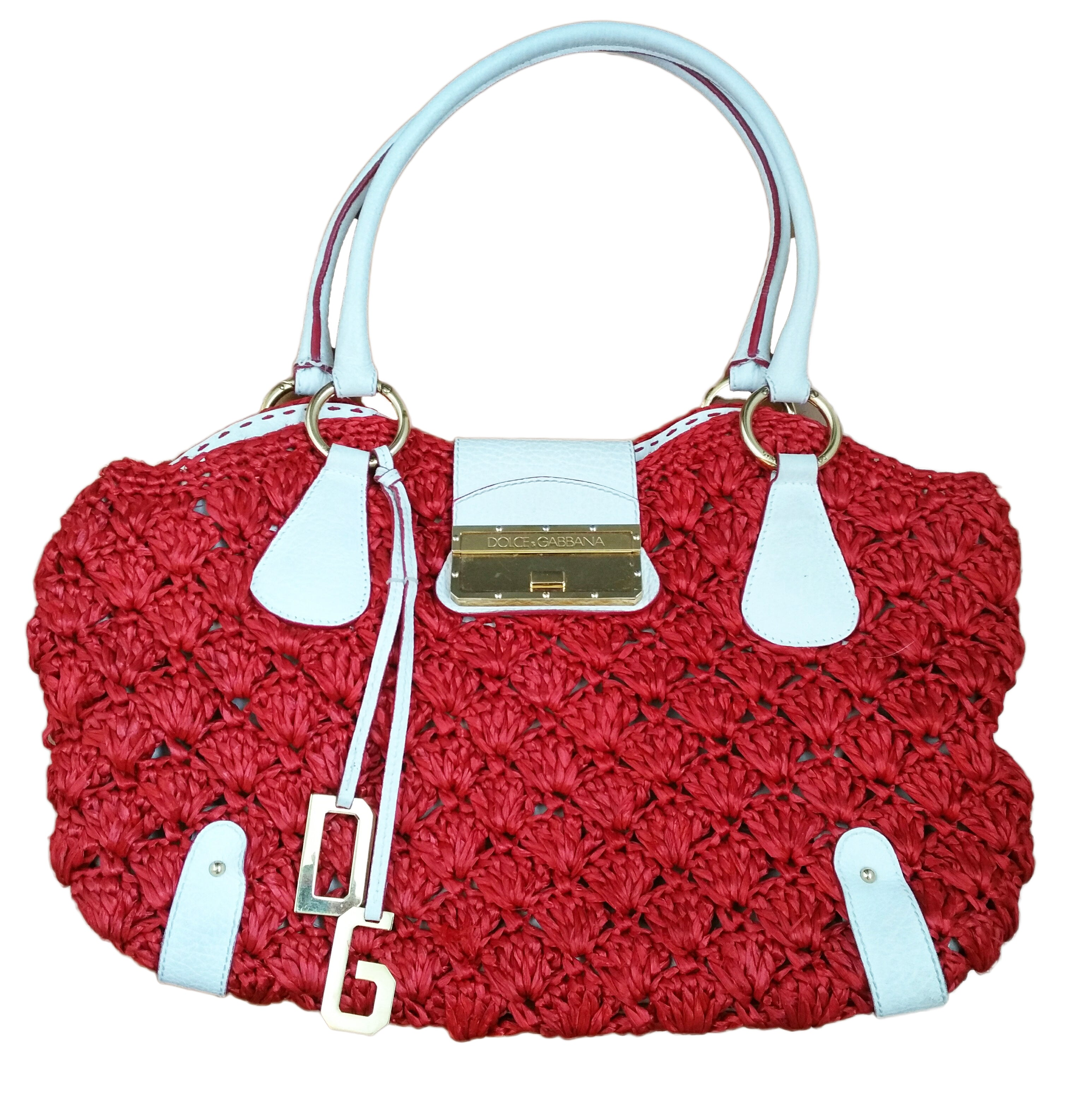 Dolce & Gabbana Red and White Handbag in Raffia and Animal Print Interior
