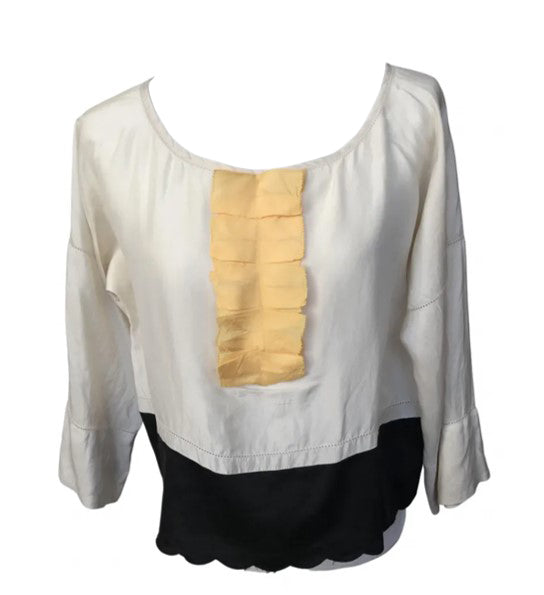 See by Chloé Blouse with Yellow Ruffles in the Front and Open Stitch Details Size 36 (EU)