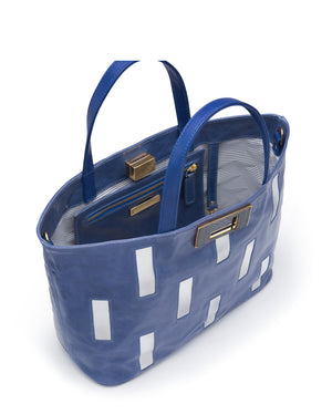 MANJERICA INGRID ELECTRIC BLUE Tote Bag in Leather Medium Size