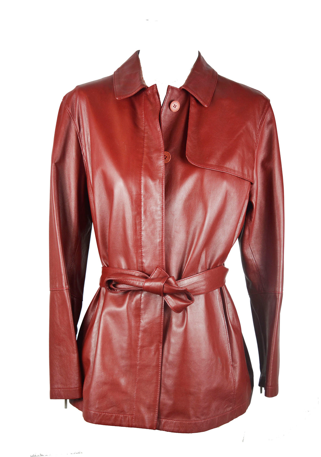 Burberry Bordeaux Leather Belted Jacket Size 40 (EU)