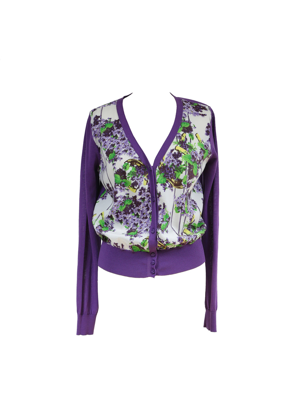 Class Roberto Cavalli Knit and Silk Floral Jacket Size 42 (EU)