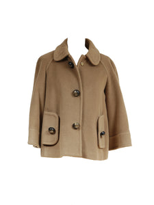 Carolina Herrera Wool and Angora Camel Coat Size S