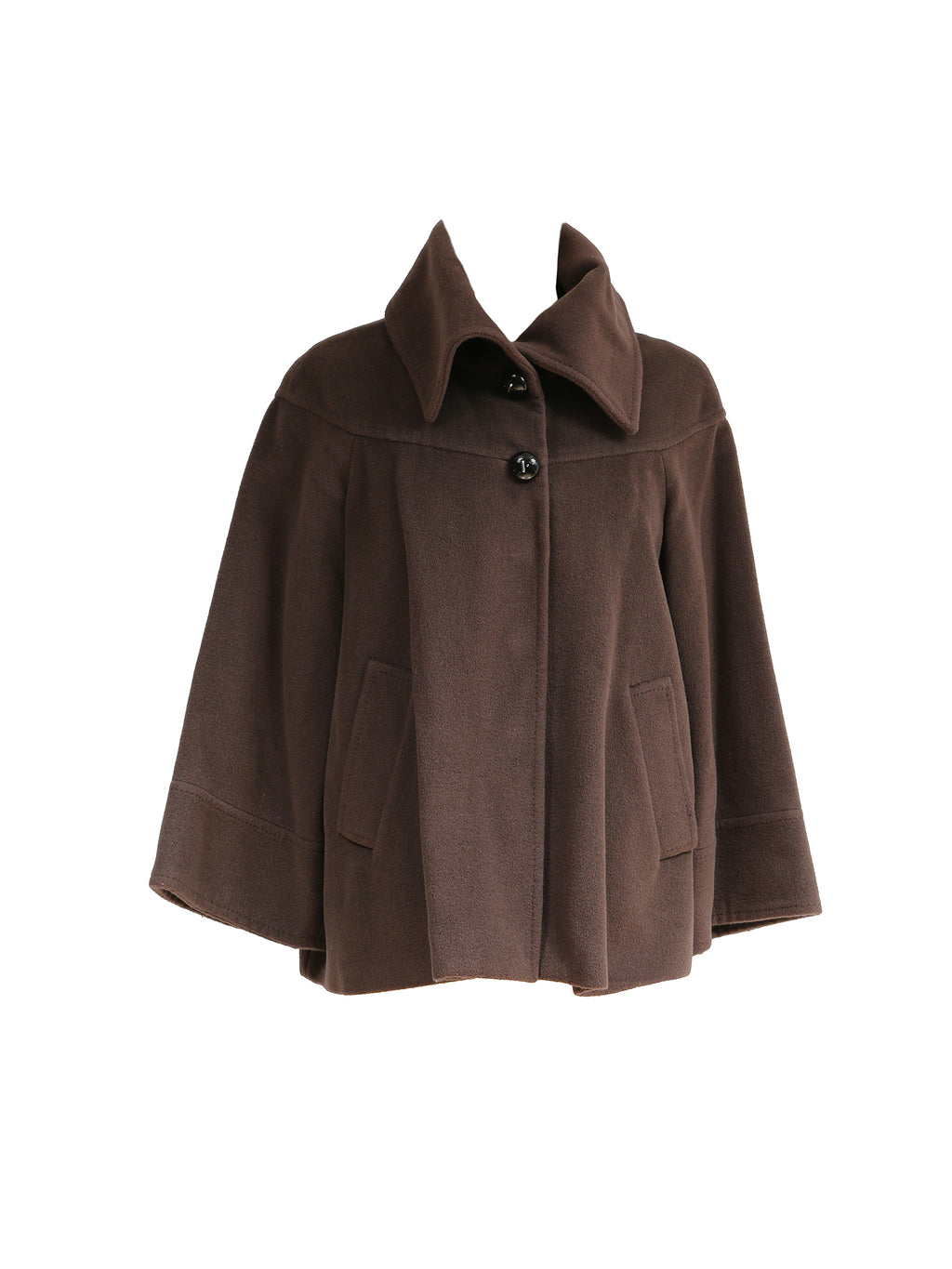Carolina Herrera Wool and Angora Brown Coat Size S