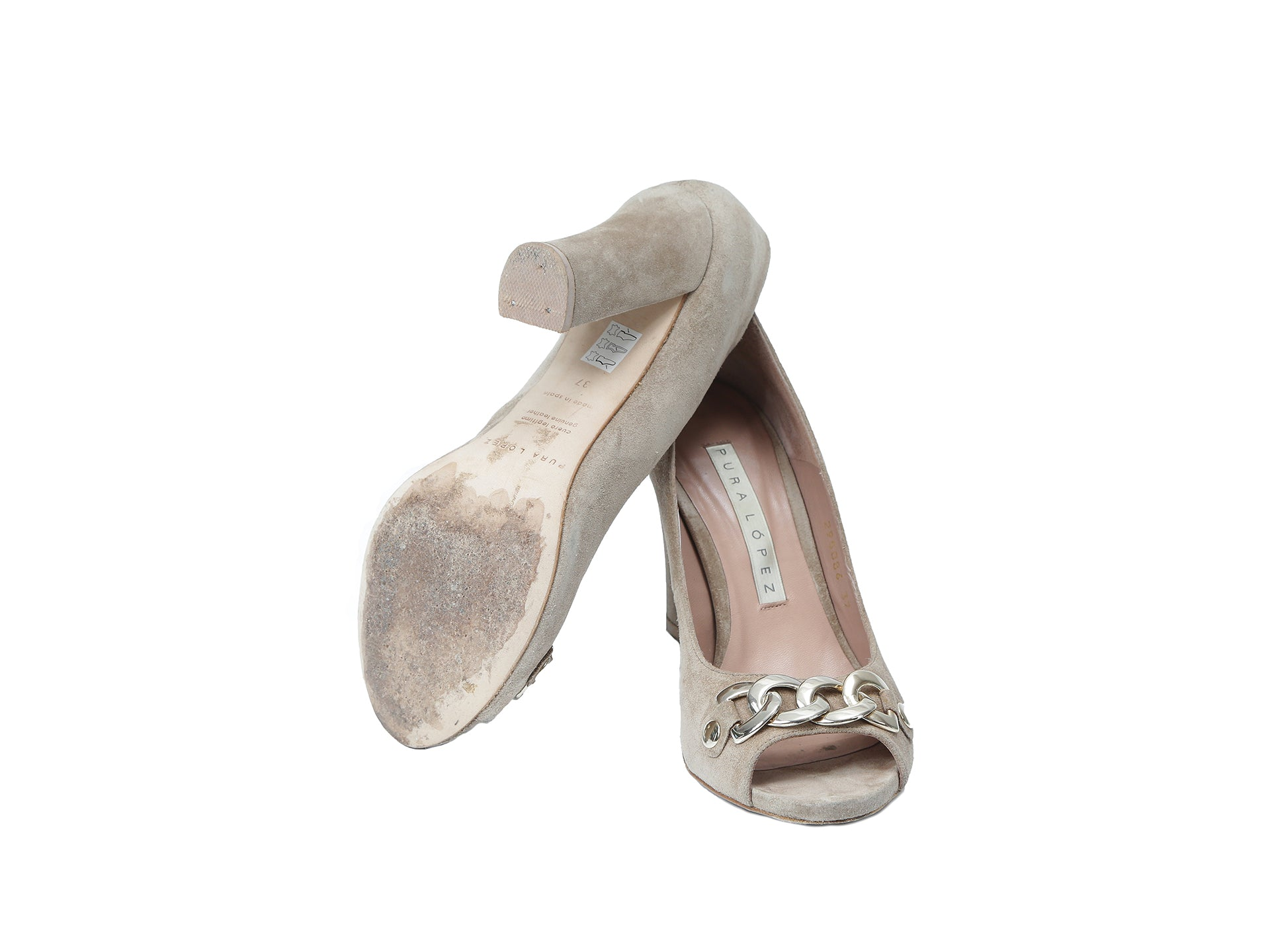 Pura Lopez Beige Suede Heels with Golden Chain Size 37 (EU)
