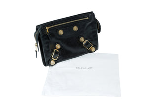Balenciaga Black Clutch with Golden details