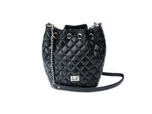 Love Moschino Bucket Bag in Black Quilted Leather