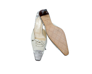 Chanel Beige and Grey Python Lace Up Heeled Mules Size 37 (EU)