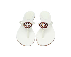 Gucci Flat Sandals in Patent Leather Beige with GG Logo turtle Size 37C (EU)