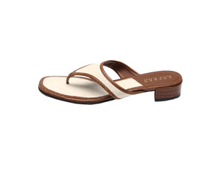 Ralph Lauren Flat Sandals in Brown and Beige Size 38,5 (EU)