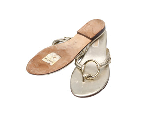 Michael Kors Flat Sandals in Golden Leather Size 38,5 (EU)