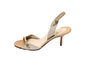 Christian Louboutin Beige and Brown Heeled Sandals Size 37,5 (EU)