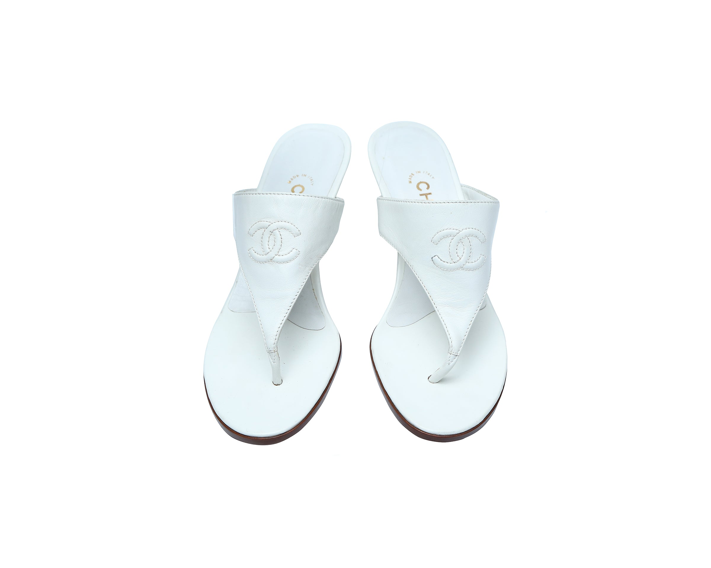 Chanel White Mules in Leather with Logo Size 37,5 (EU)