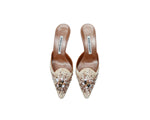 Manolo Blahnik Mules in Leather, Rafia and Stones *NEW* Size 37,5 (EU)