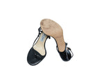 Jimmy Choo Black Leather Stripes Sandals with rhinestones on the heels Size 37,5 (EU)