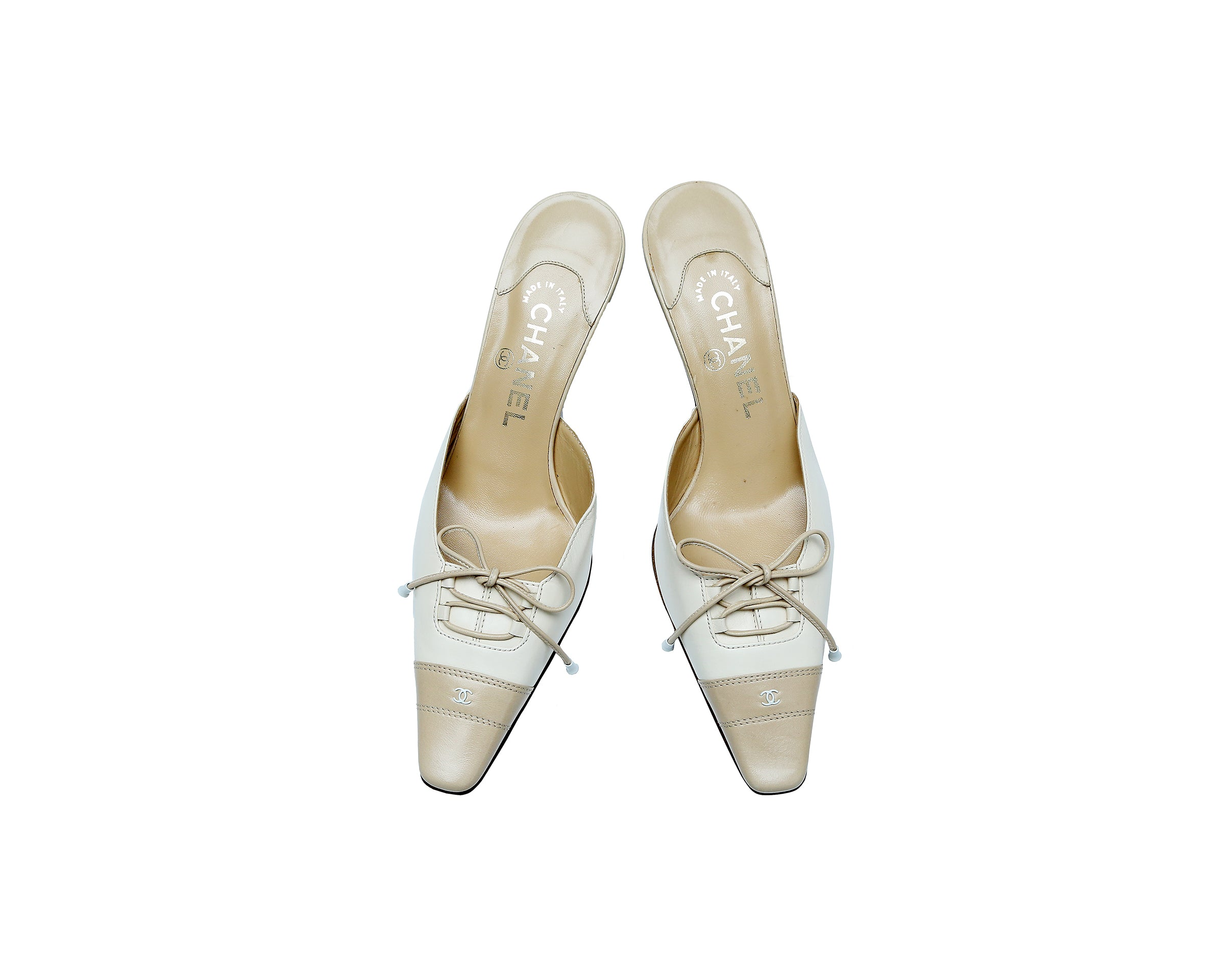 Chanel Beige and Creme Lace Up Heeled Mules Size 37 (EU)
