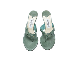 Jimmy Choo Green Mules with Golden Studs Size 37,5 (EU)