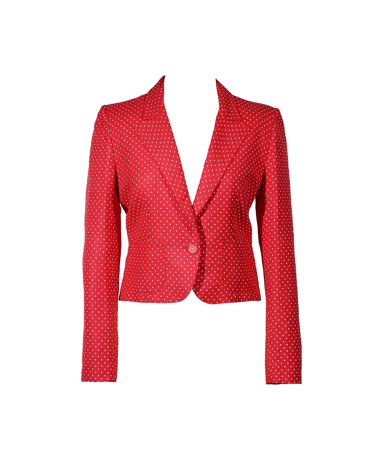 Valentino Red and White Polka dots Suit: Jacket and Trousers Size 8 (US)