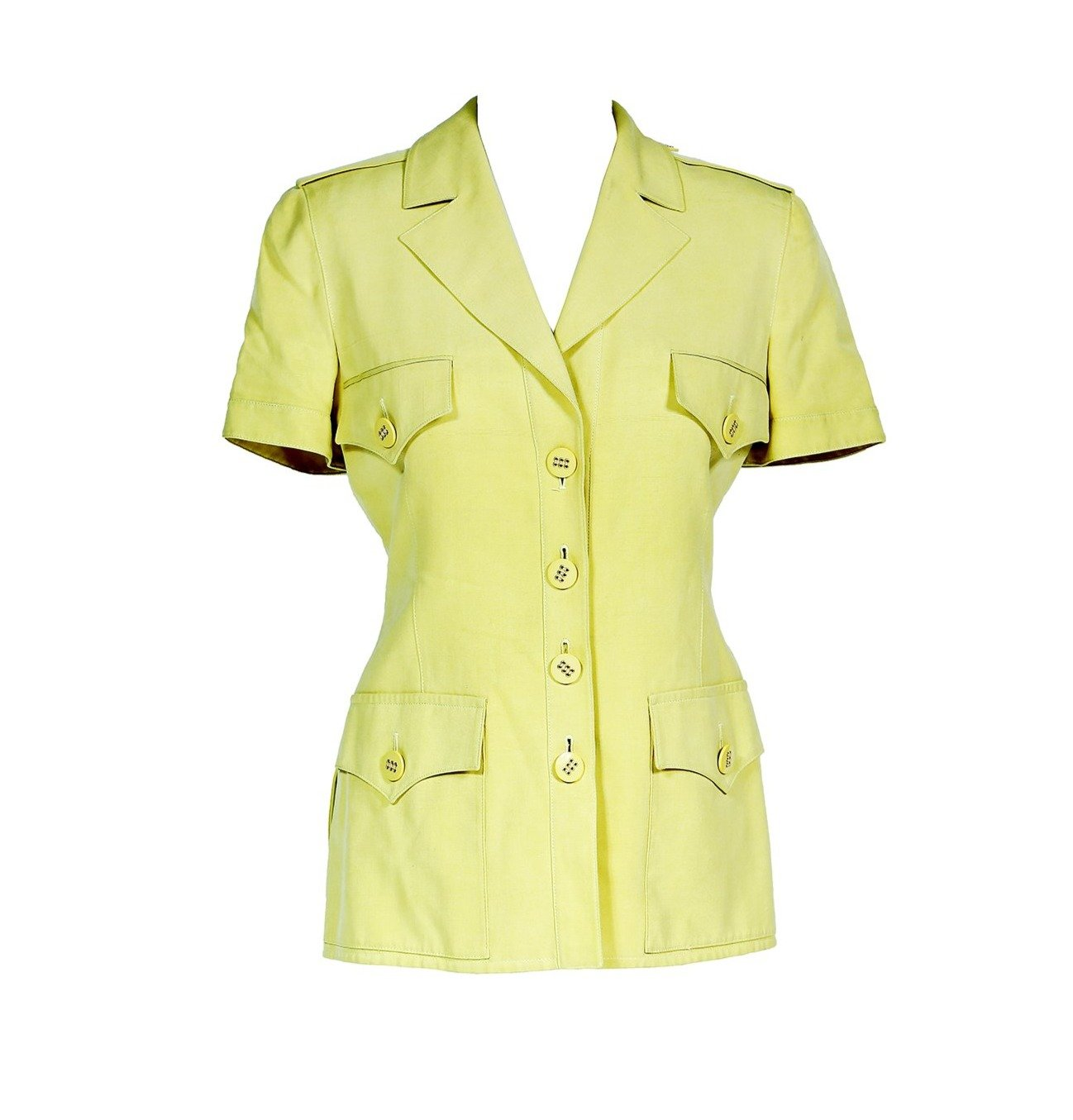 Valentino Vintage Safari 100% Silk Jacket in Yellow Fits M