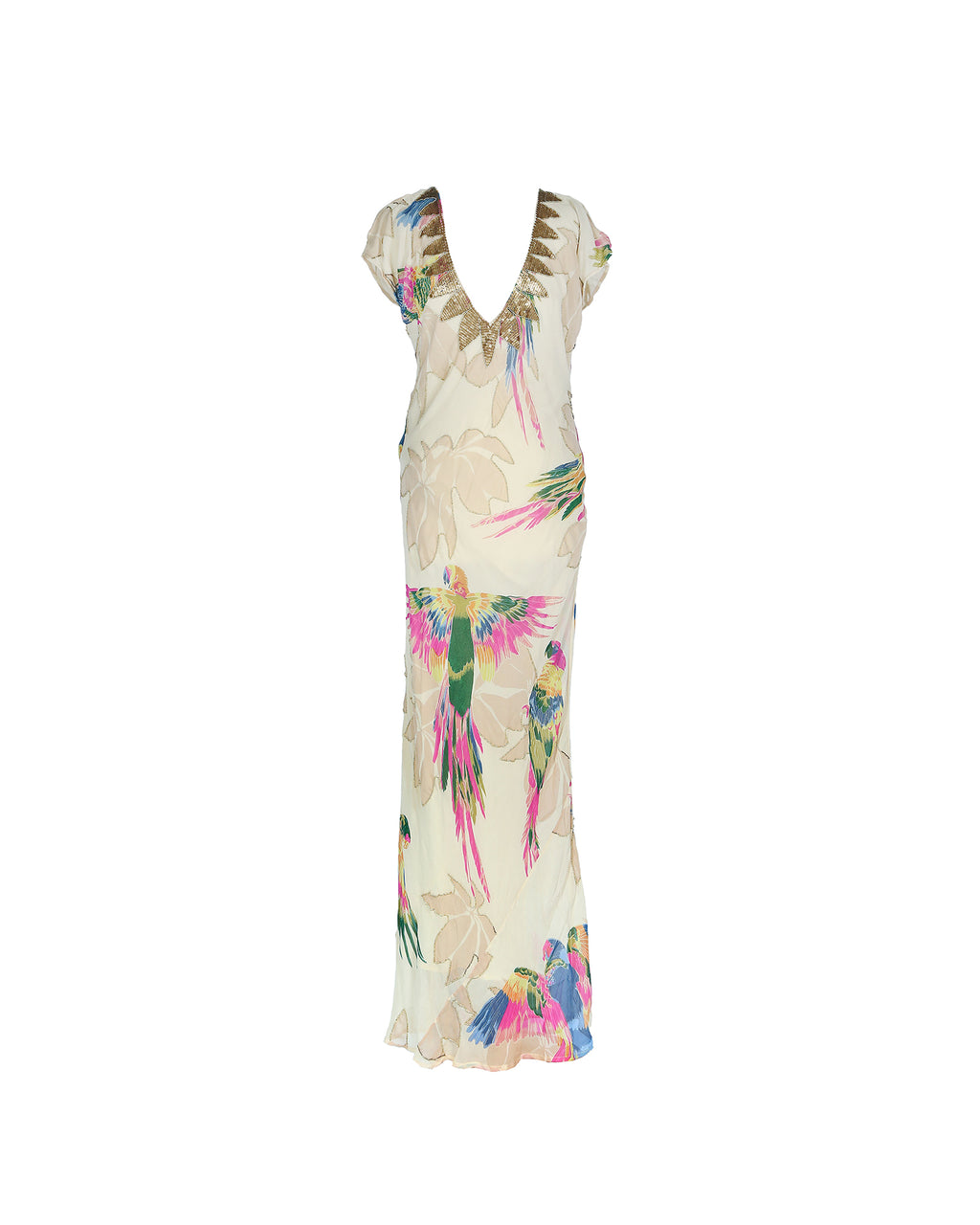 Matthew Williamson 100% Silk Long Embellished Dress in Beige Size 40 (EU)
