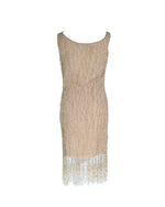 Oscar De La Renta Beaded Dress in Beige Fits Size S