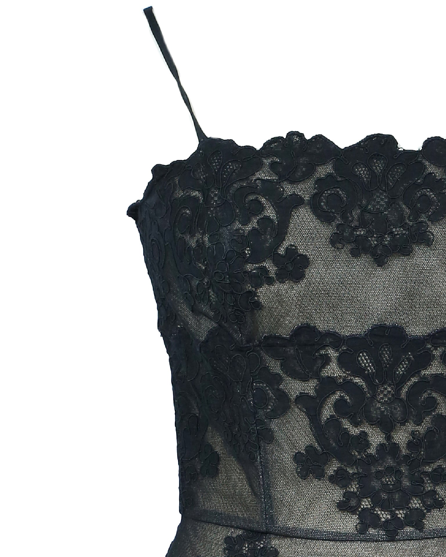 Vicky Tiel Couture Paris Vintage Black Lace Dress Fits 36 (EU)