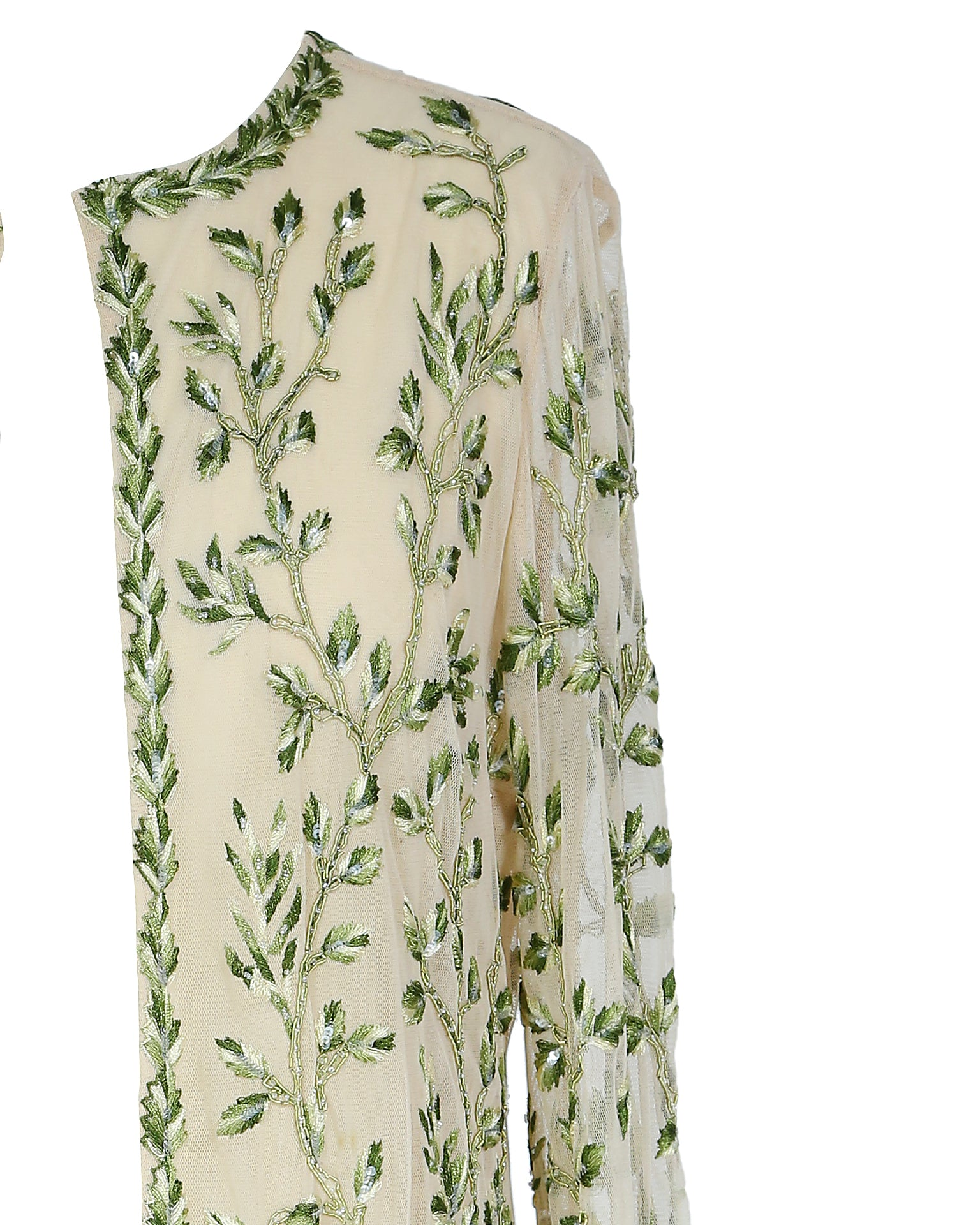 Oscar de la Renta Embroidered Coat with Green Foliage Size 38 (EU)