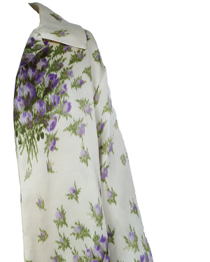 Oscar de la Renta Beige Coat with Purple Flowers Size 36 (EU)