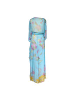 Valentino Silk Flower Print Long Skirt in Blue Size 36 (EU)