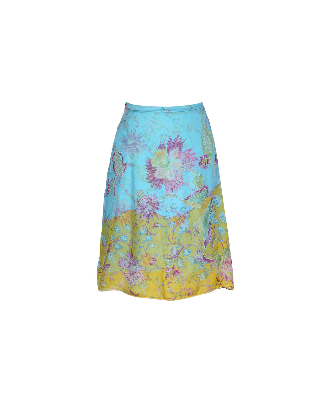 Valentino Silk Flower Print Short Skirt in Blue Size 38 (EU)