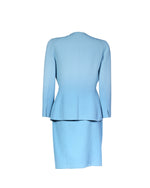 Oscar De La Renta Blue Coat and Skirt Set With Embroidery Size 38/36 (EU)