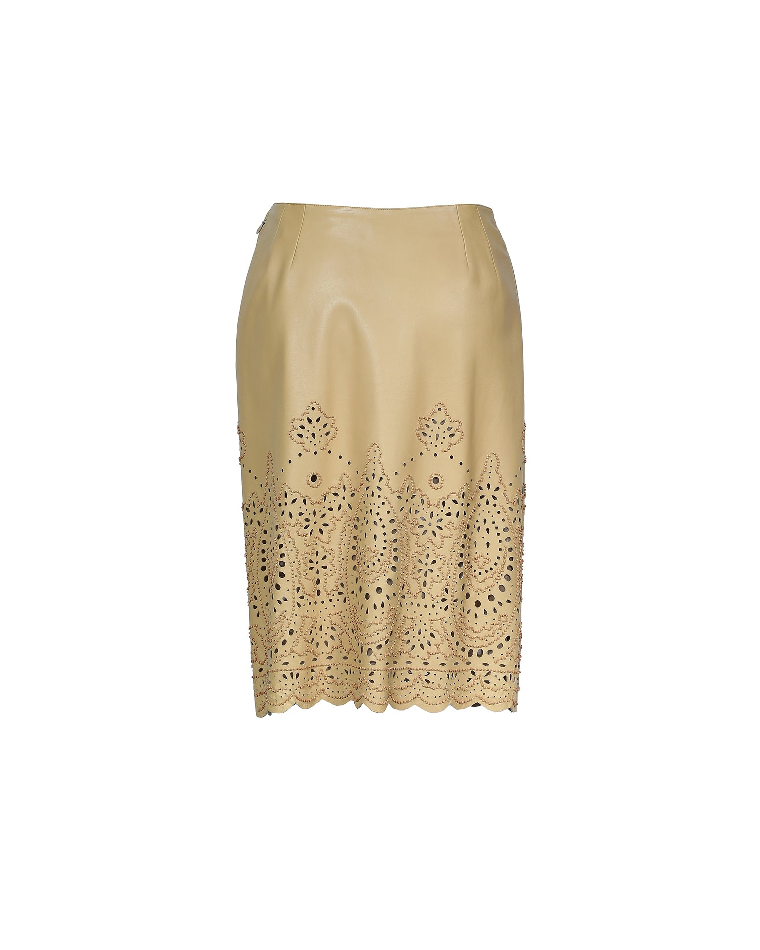 Oscar De La Renta Leather Skirt With Laser Cut and Beads in Beige Size 38 (EU)