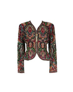 Vintage Embellished Beaded Silk Fitted Jacket Fits S