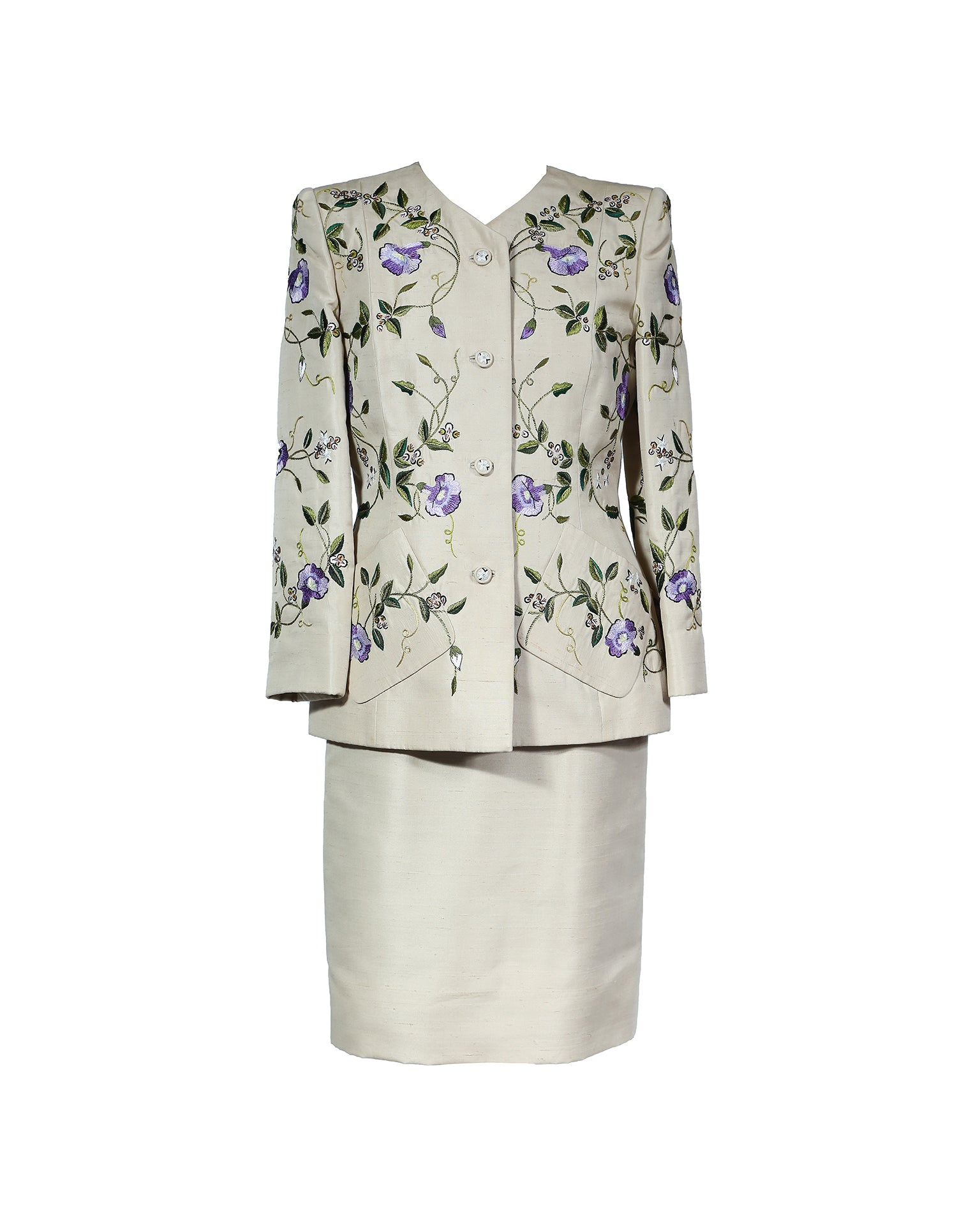 Oscar De La Renta Embelished Skirt and Coat Set Size 38 (EU)