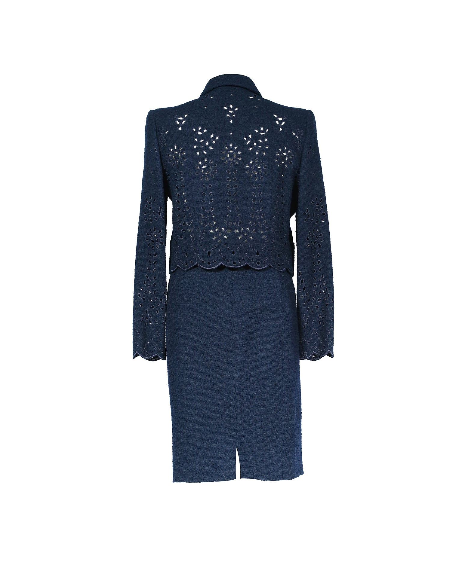 Valentino Suit: Skirt and Embroidered Coat in Black Wool Size 38 (EU)