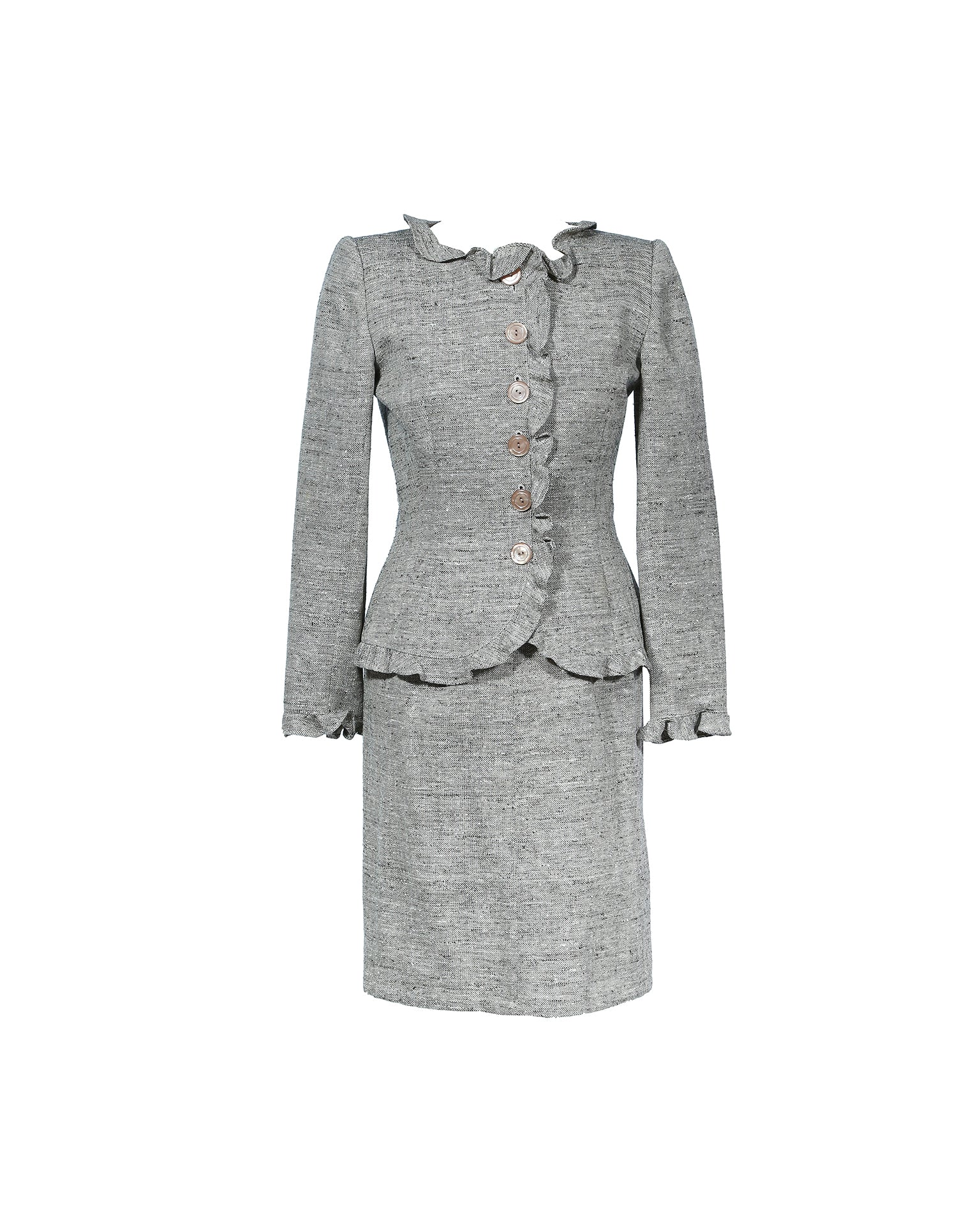 Valentino Suit: Skirt and Coat in Brown Wool Size 38 (EU)