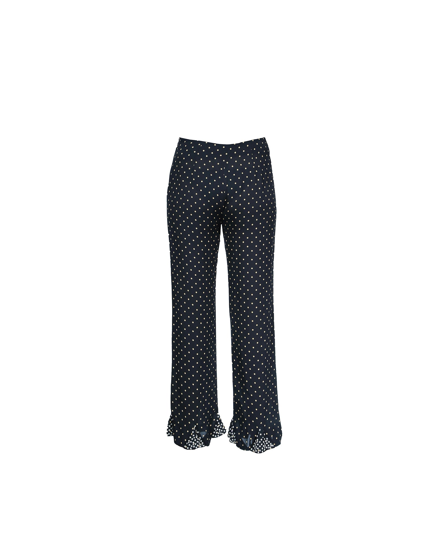 Valentino Black Silk Trousers With Golden Polka Dots and Beaded Details Size 38 (EU)