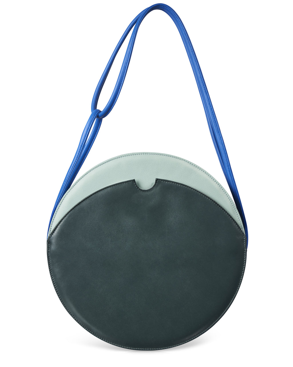 MANJERICA OLIVIA FOREST Round Shape Shoulder Bag in Leather