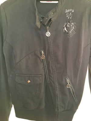 RARE Black Waterproof Jacket with Diagonal Zipper Size 40 (EU)