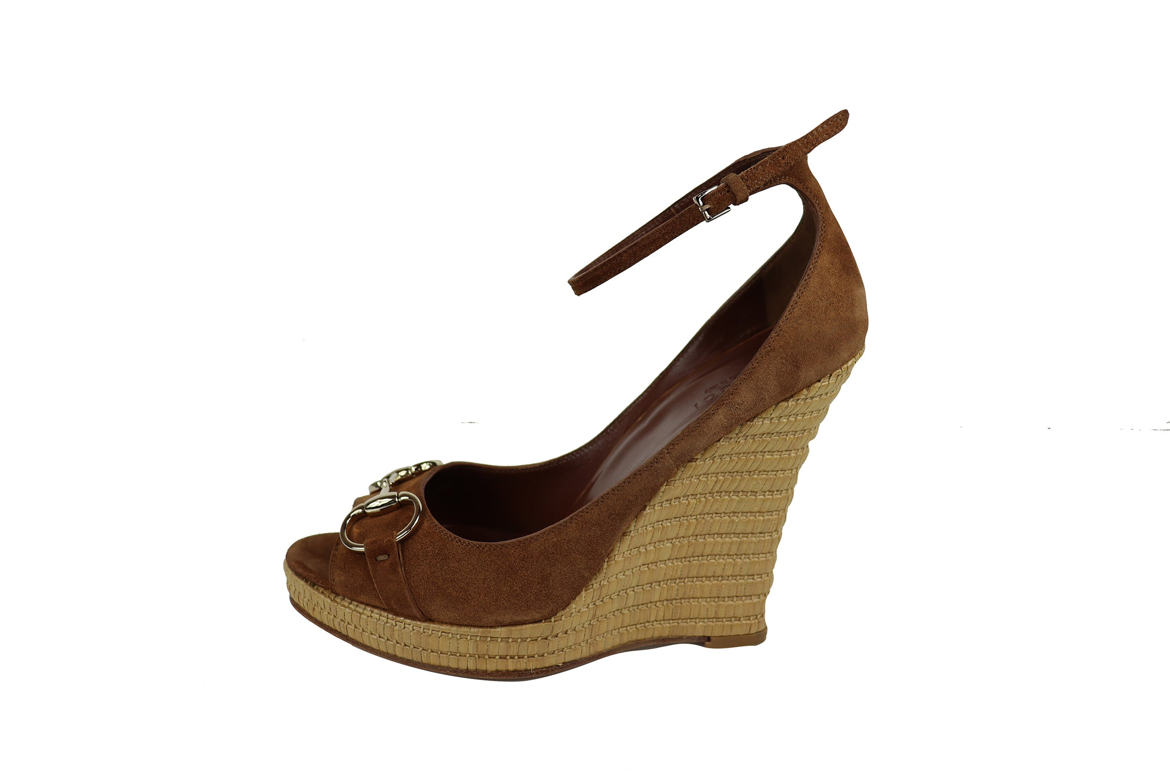 Gucci Wedge Brown Suede Sandals with Silver Horsebit Detail Size 37,5 (EU)