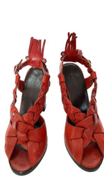 Balenciaga Leather Sandals in Red Size 35 (EU)
