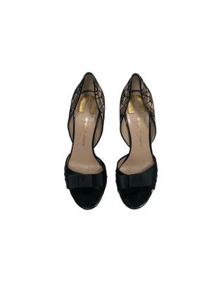 EMANUEL UNGARO Black Peep Lace Detailed Pumps with Bow Attachment Front Size 38 (EU)