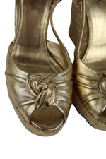 Prada Gold Wedge Sandals with Bow Size 37,5 (EU)