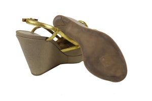 Prada Brown Denim and Golden Leather Wedge Sandals Size 37 (EU)