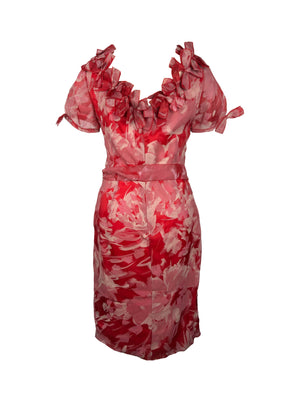 CAROLINA HERRERA Silk Red/Pink Flower Stroke Painting Pattern Dress with Fabric Manipulation in the Neckline Size 38 (EU)
