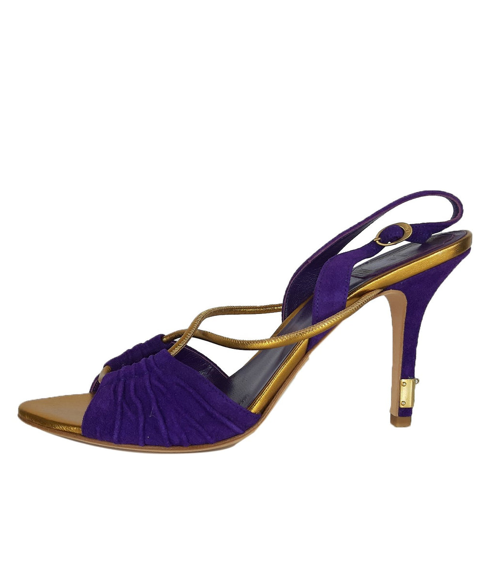Christian Dior Purple and Bronze Suede and Leather Sandals Size 39 (EU)