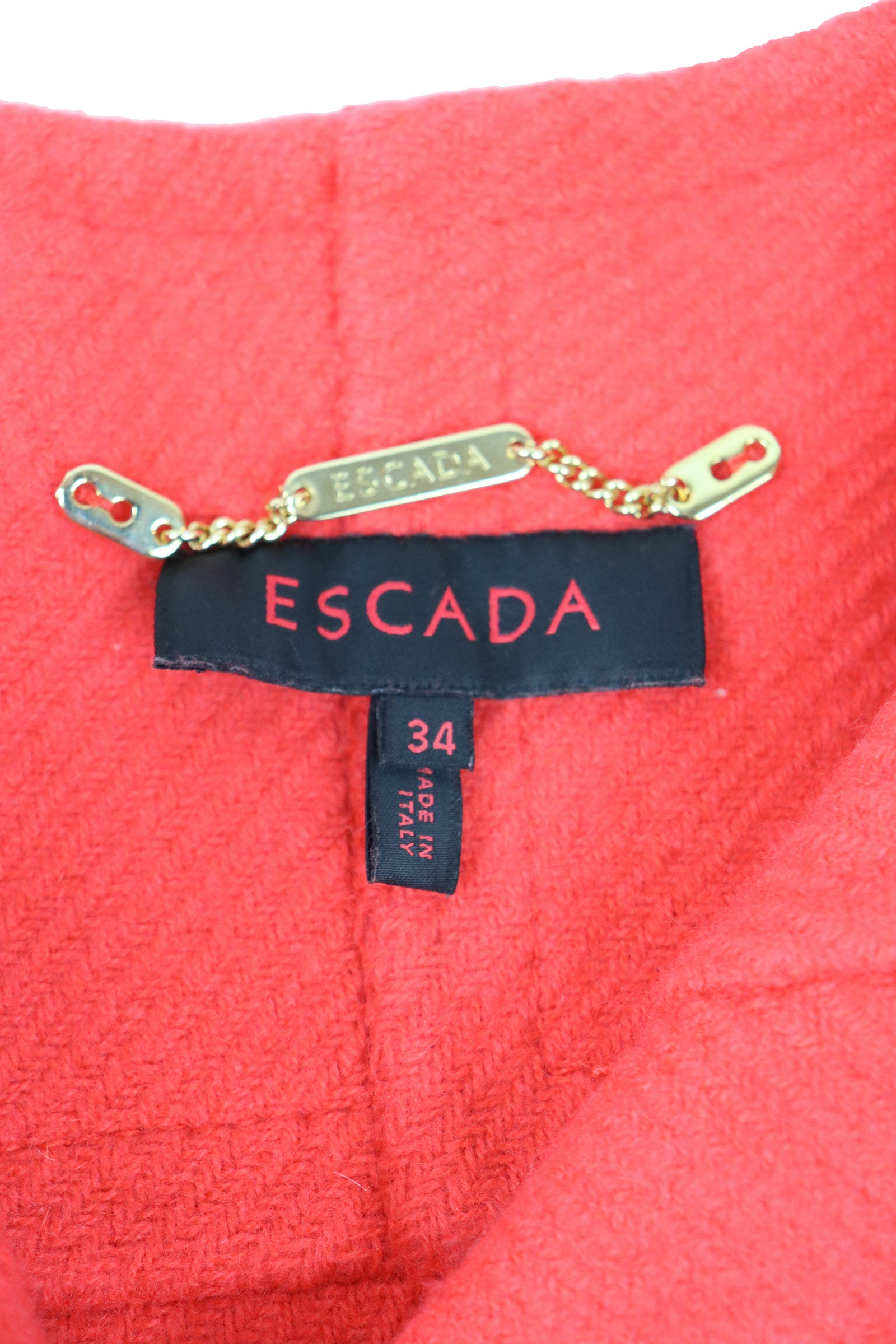 Escada Orange Wool Belted Coat Size 34 (EU)
