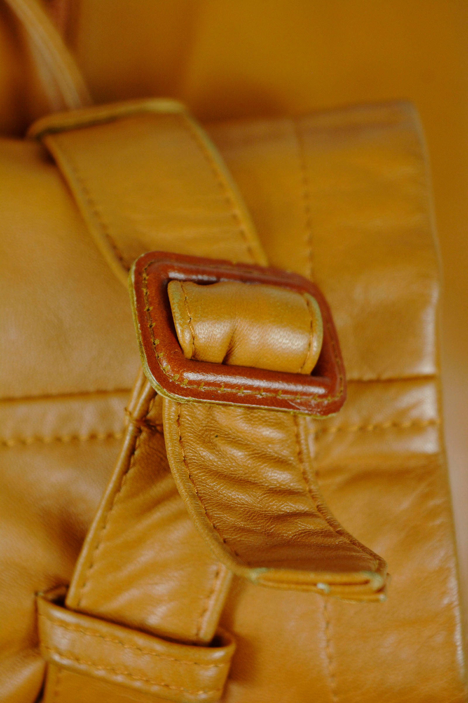 Burberry Camel Leather Belted Jacket Size 38 (EU)